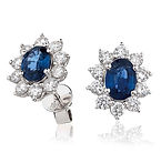 0.60ct Diamond &  1.90ct Sapphire  18k White Gold Earring