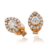 Pear Shaped Halo  1.00ct Diamonds  18kt Rose Gold Earring