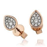 Pear Shaped Earrings  0.20ct Diamonds  18k Rose Gold Earring
