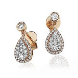 Pear Drop 0.75ct Diamonds  18k Rose Gold Earrings