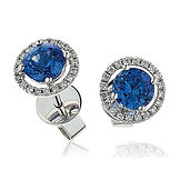 1.15ct Sapphire &  1.00ct Diamond  18k White Gold