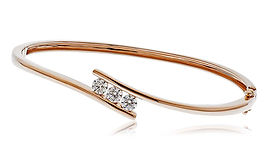 0.75ct Triple Diamond Bangle 18k Rose Gold