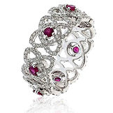 1.55CTS Diamonds  & Ruby  18k White Gold  Ring