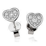 Diamond Heart Studs 0.30ct  18kt White Gold Earring