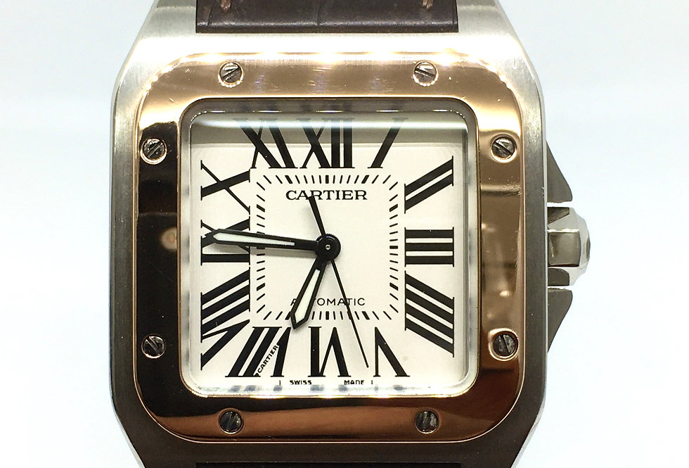 Cartier Santos 100 Midsize Steel & 18k Rose Gold