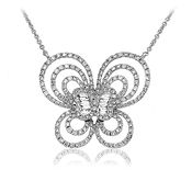 Butterfly Pendant  1.10ct Diamonds  18k White Gold