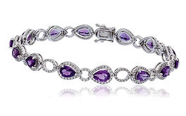 6.84ct Diamond &  5.29ct Amethyst  18k White Gold