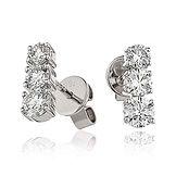 3 Stone Diamond Drops 1.00ct 18k White Gold Earrings