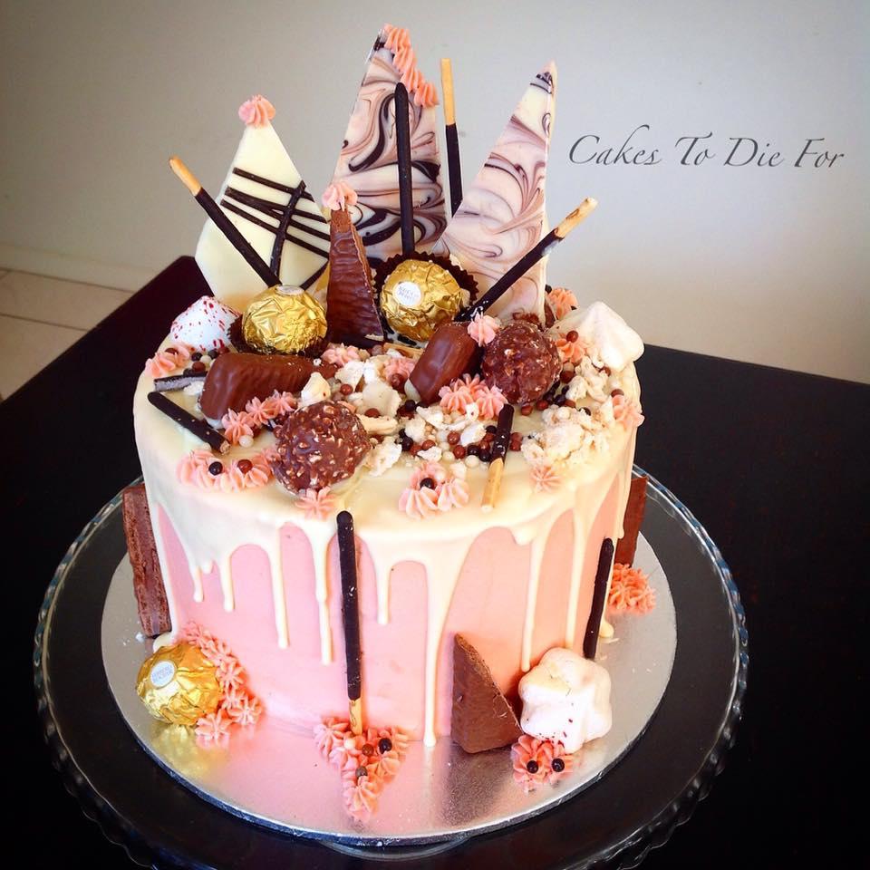Pink Chocolate Drip Cake