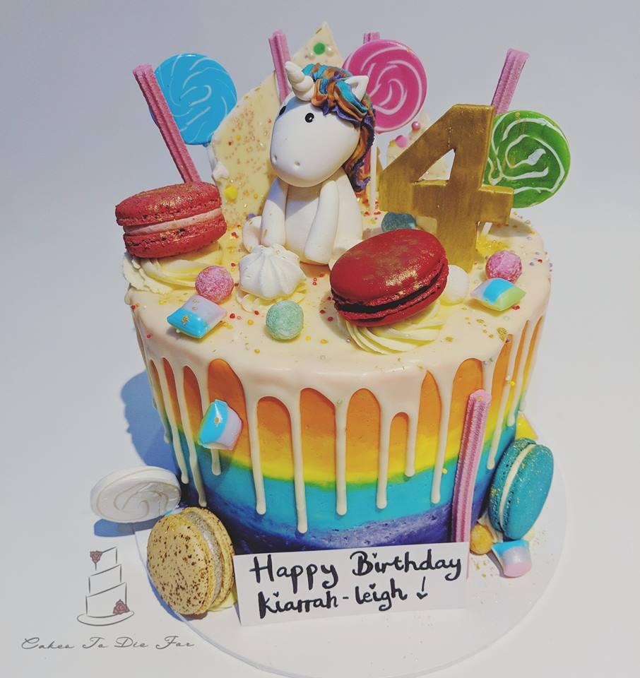 4th Birthday Unicorn Drip