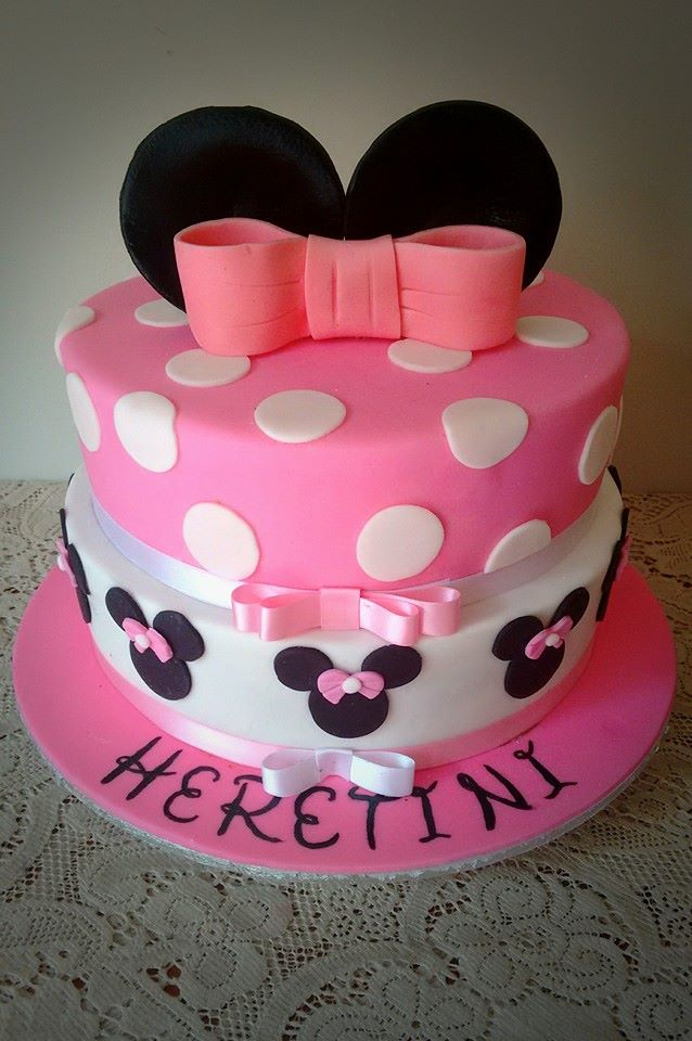 Two Tiered Minnie Mouse Cake