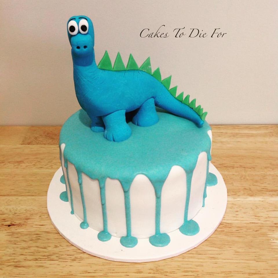 Blue Dinosaur Drip Cake