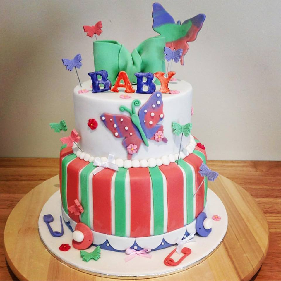 Two Tiered Baby Shower Cake