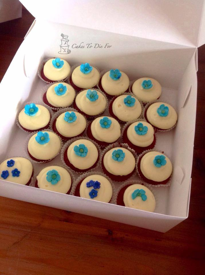 Baby Blue Blossom Mini Cupcakes