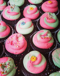 Pink and Green Two Tone Sprinkle Cupcakes