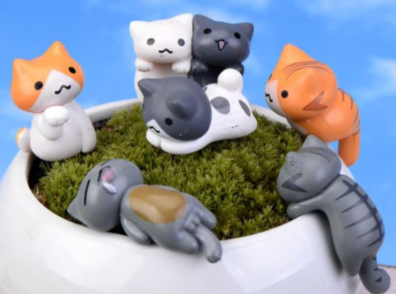 Cat In Garden Figurine