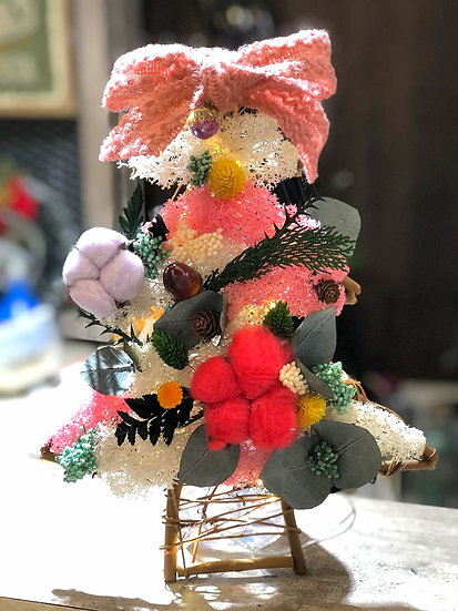 Sweet Cotton Christmas Tree Wreath with LED