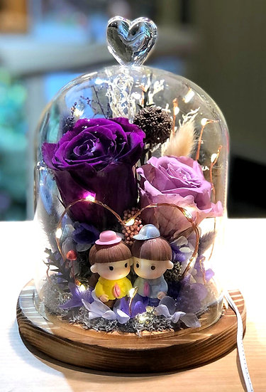 Love Is In The Air Preserved Flower Dome with LED
