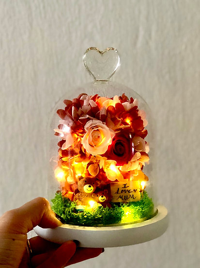 I Love Mum with Bear Preserved Flower Arrangement with LED