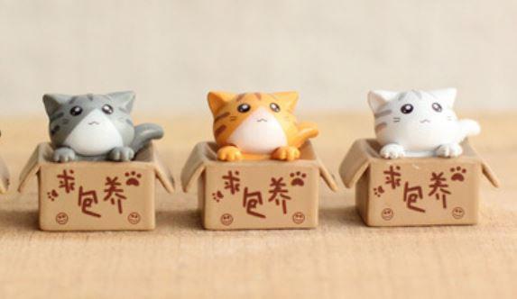 Cat in Box Figurine
