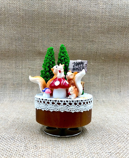 Happy Squirrel Family Music Box