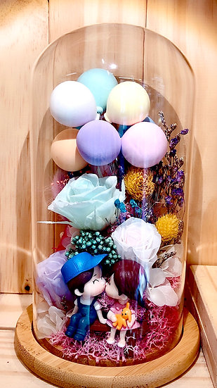Lovely Cute Balloons Preserved Flower Dome