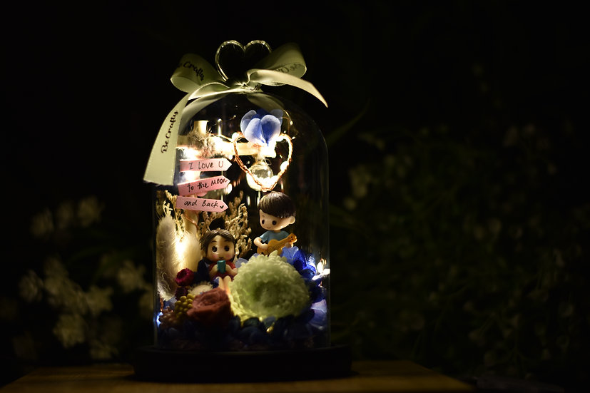Love Under the Lamp Post Preserved Flower Dome with LED