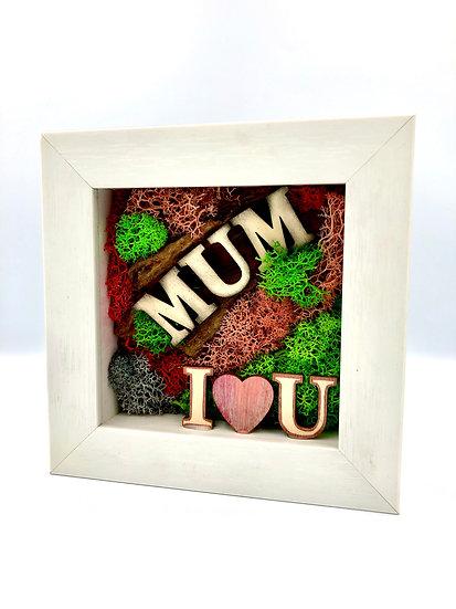 Mum I Love You Preserved Moss Frame