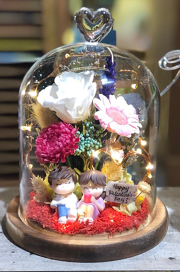 Shining Hearts Preserved Flower Dome with LED