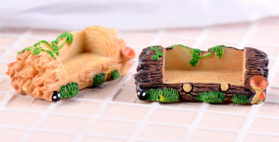 Log Bench Figurine