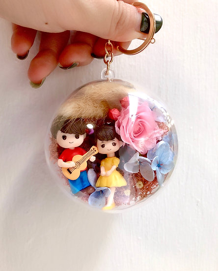 I'll Sing For You Preserved Flower Key Chain