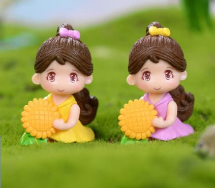 Long Haired Girl With Sunflower Figurine