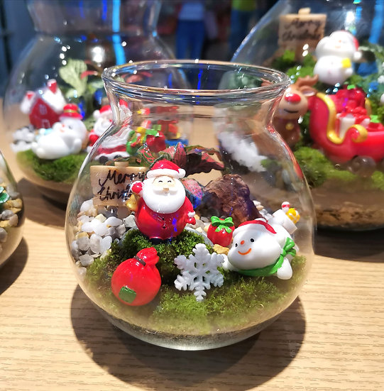 Santa Is Coming Small Terrarium with Cork Lid