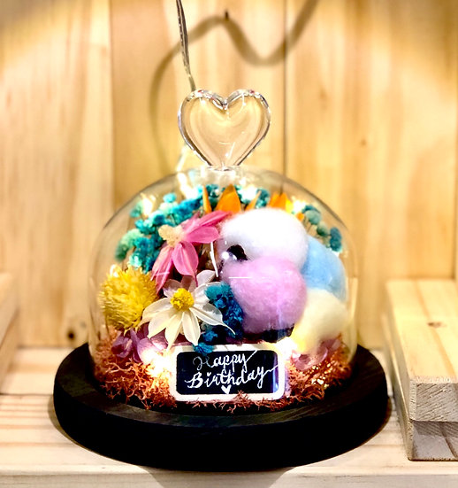 Summer In Paradise Preserved Flower Dome with LED