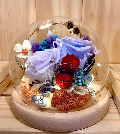 Gentle Breeze Preserved Flower Dome with LED