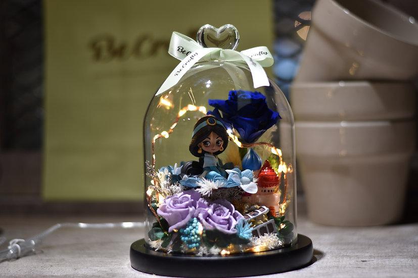 Princess Jasmine Preserved Flower Dome with LED