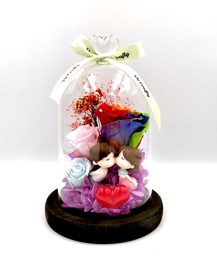 Rainbow Rose Couple Kissing Preserved Flower Arrangement