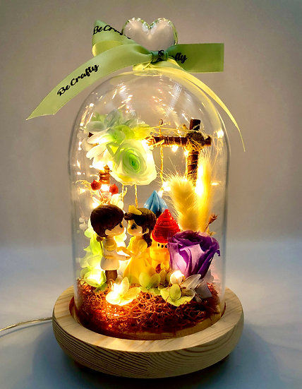 Prince & Princess Preserved Flower Dome with LED