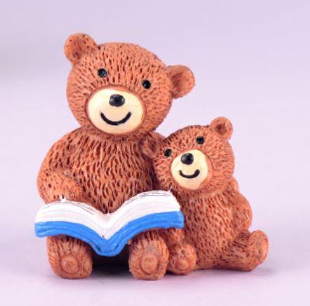 Mummy & Baby Bear Reading Book Figurine