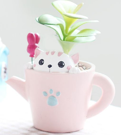Cat In A Watering Can Pot