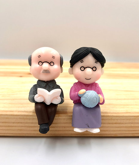 Grandpa & Grandma Reading & Sewing Figurine