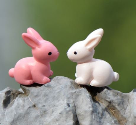 Pink & White Rabbit Figurine