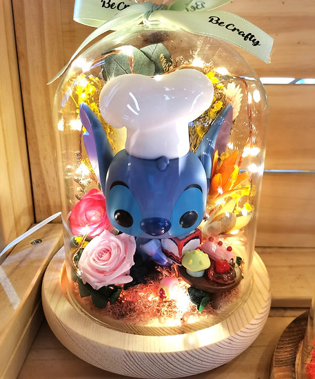 Birthday Baker Stitch Preserved Flower Dome with LED
