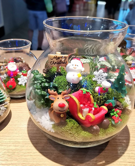 Christmas Gifts Overflowing  Big Terrarium with Cork Lid