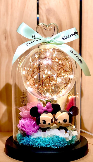 Mickey & Minnie to the Moon Preserved Flower Dome with LED