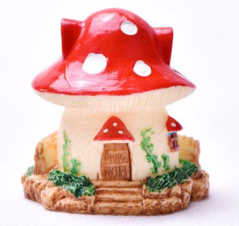 Mushroom House With Stairs Figurine