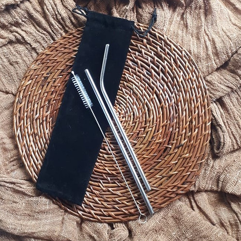 Stainless Steel Straw Set (+ Cleaning Brush)