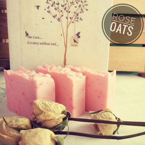 Natural & Vegan Rose-Oat Soap (100g)