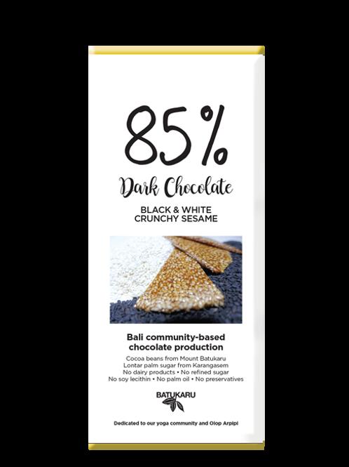 Black & White Crunchy Sesame Dark Chocolate 85% (50g)