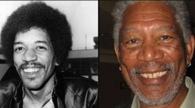 Jimi Hendrix y Morgan Freeman
